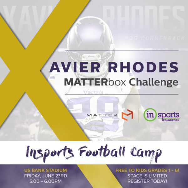 Xavier Rhodes MATTERbox Challenge and InSports Football Camp
